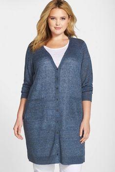 Eileen Fisher Plus Size Organic Linen Cardigan in the prettiest blue!