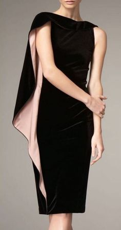 Armani cape sleeve velvet dress I want this dress in my closet! Little black dress with a flare. Look Fashion, High Fashion, Womens Fashion, Fashion Design, Fashion Trends, Fashion Advisor, Fashion 2015, Fashion Black, Fashion Tips