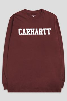 Carhartt's Work In Progress College L/S Shirt is a regular fit, 100% cotton single jersey with graphic print. - Product Code: I021948-CW - Color: Chianti / White - Material:åÊ 100% Cotton