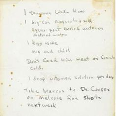 handwritten not James Dean wrote day before he died..on instructions on looking after his cat Marcus while he was away