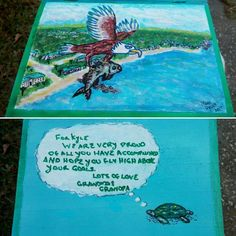 Box Just completed for my Grandson who is currently a student at Florida Gulf Coast University and a member of the fishing club School Mascot grafted onto a real eagle flying over the campus with a freshly captured fish-  Box is airbrushed and painting is painted with craft acrylic with ink and Marker - to be covered in Polycrylic Urethane Painted Boxes, Hand Painted, Florida Gulf Coast University, Birdhouses, Wood Boxes, Airbrush, Markers, Fishing, Eagle