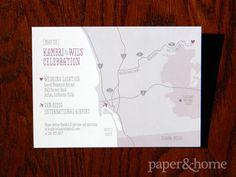 Purple and Gray, Cute and Modern Hand-Drawn Map. Wedding Invitations San Diego: Kambri & Wil