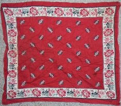-Rare- 1800's -Workwear- Victorian Men's Red Work Bandana