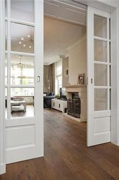 Fireplace Wall, Room Doors, Internal Doors, Small Living Rooms, Sliding Doors, French Doors, Future House, New Homes, Decoration