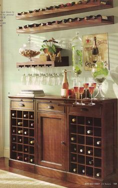 Simple mini bar design small home bar small home bar designs and mini bars mini bar design for home home bar decor also simple small home bar ideas simple Wine Buffet, Wine Hutch, Wine Bar Cabinet, Small Bars For Home, Mini Bar At Home, Home Wine Bar, Wine Cabinets, Upper Cabinets, Wine Storage