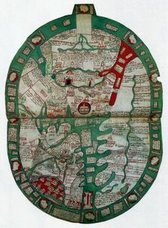 World map 14th Century.  Description: World map from the English chronicler and Benedictine monk Ranulf Higdon, published in the late 14th century.