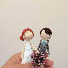Amigurumi bride and groom wedding dolls by doubletrebletrinkets. (Inspiration).❤