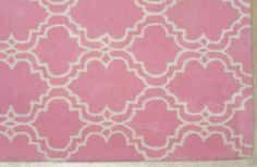 FRENCH ACCENT SCROLL TILE PINK 3X5 KIDS HANDMADE PERSIAN STYLE WOOLEN AREA RUG