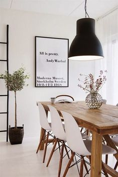 White chairs for new house (Dining room) andy warhol tavla,thonet,eames,hektar ikea lampa Scandinavian Interior Design, Home Interior, Interior Decorating, Nordic Design, Simple Interior, Decorating Ideas, Scandinavian Modern, Scandinavian Dining Table, Scandinavian Furniture