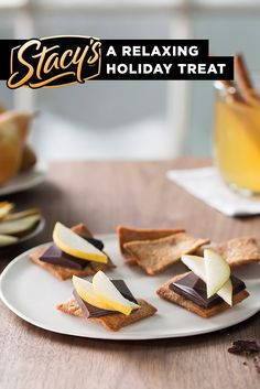 "Winter pairing by James Beard Award-winning chef Joanne Chang: ""During the cold winter months I love an extra something special to face the weather and stress of the season. Crisp juicy pear, bittersweet chocolate, gingerbread chips and warm spiced cider are a rewarding way for me to celebrate the holidays and relax at the end of a long day."""