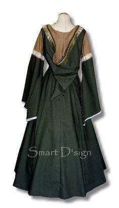 Medieval Garment with Hood Maiden Dress Gothic Size door SmartDsign