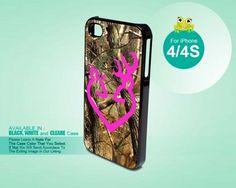 Pink Browning Deer Camo - iPhone 4/4s Black Case