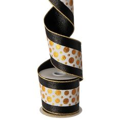 "RAZ 4"" Black and Gold Polka Dot Ribbon Made of Polyester Measures 4"" X 10 Yds Wire edge Black, White, and Gold RAZ 2017 Glad Tidings Collection"