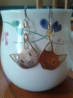 Cute Cat Brass Earrings by NinaRaizel on Etsy, $18.00
