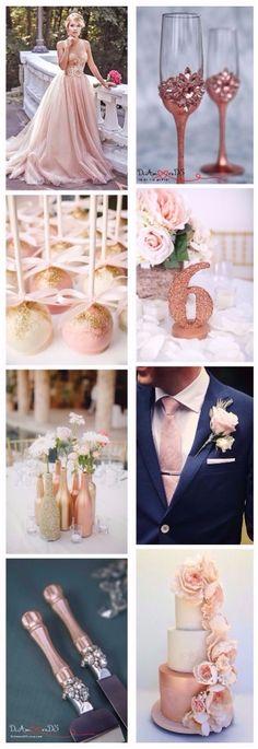 8 ideas for Rose Gold Wedding. Wedding toasting Glasses and cake server by DiAmoreDS.etsy.com