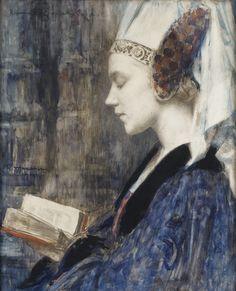 Edgar Maxence (French, 1871-1954), Femme de profil lisant, 1914. Charcoal, watercolour and gouache on paper, 64 x 51.5 cm. - #ARTEmisiaLegge - @Libriamo Tutti