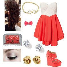 """""""Orange summer/party outfit"""" by alissaharthausen on Polyvore"""