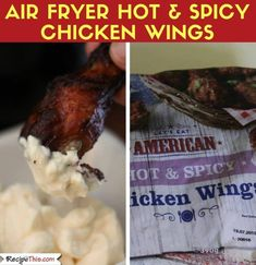 Air Fryer Chicken Wings From Frozen Ways). Here are 3 versions of cooking frozen chicken wings in the air fryer. All your favourite flavours included. Air Fry Recipes, Spicy Recipes, Slow Cooker Recipes, Appetizer Recipes, Whole Food Recipes, Healthy Recipes, Party Recipes, Appetizers, Frozen Chicken Wings
