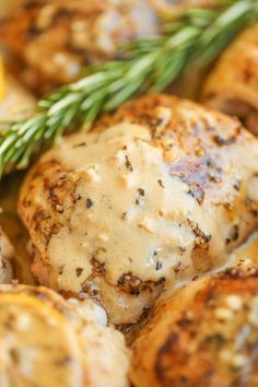 Herb Chicken with Lemon Cream Sauce - This cream sauce is seriously out of this world. So tangy, buttery, creamy and just melt-in-your-mouth AMAZING! - Mom really loved this, and I did too! So simple, not too strong of a lemon flavor. Lemon Cream Sauces, Lemon Chicken, Chicken Lemon Cream Sauce, Herb Chicken Recipes, Chicken Sauce, Balsamic Chicken, Chicken Meals, Boneless Chicken, Baked Chicken