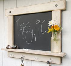 Rustic Chalk Board in White Wash Distressed and Antiqued with Shelf and Hooks-MADE TO ORDER. $69.95, via Etsy.