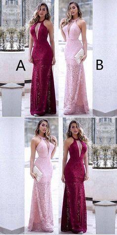 Floor-length Halter Sexy Deep V-neck Sleeveless Lace Long Prom Dresses by MeetBeauty, $147.74 USD