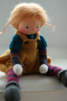 Waldorf knitted doll Ina 13 by Peperuda dolls by danielapetrova