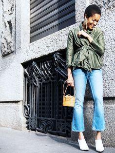 Sur Tamu McPherson: veste Isa Arfen;  Alexander Wang jean;  mules Céline.  Styles Notes: Pour samedi les boissons de nuit, prendre une veste de chi-chi et le coupler avec vos jeans recadrées ...