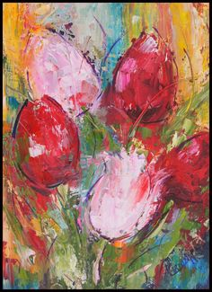 Abstract Tulips palette knife painting, oil on canvas panel Flower Painting, Oil Painting Flowers, Tulip Painting, Floral Art, Art Projects, Acrylic Painting Flowers, Paintings I Love, Abstract Flower Painting, Abstract