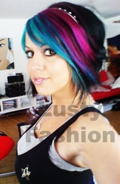 Multi-colored emo hairstyles