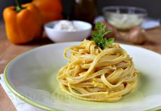 linguettine ai peperoni e ricotta cucinare ricette primo vegetariano Statusmamma nlogGz Giallozafferano sfizioso veloce facile
