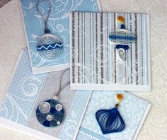 Quilled ornament cards/tags, holiday, Christmas, blue and white, small cards with envelopes, Hanukkah. $8,25, via Etsy.