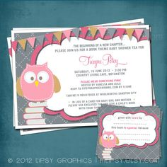 Pink Baby Owl Stock the Library Shower Invitation by MTipsy, $22.00.... if i ever have a baby girl i need this...pefection!!!!!