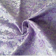 705 cm * 100 cm cos costume broccato panno abbigliamento panno del tessuto del vestito abbigliamento bambola piccoli fiori viola sorriso aperto tessuto matrimonio
