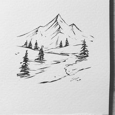 Discover recipes, home ideas, style inspiration and other ideas to try. Forest Sketch, Forest Drawing, Nature Drawing, Tree Drawings Pencil, Doodle Drawings, Tree Pencil Sketch, Nature Sketches Pencil, Pencil Sketching, Mountain Sketch