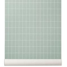 Ferm Living wallpaper Green Grid