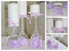 Lysestaker laget av vinglass, nydelig å bruke i bryllup, dåp, konfirmasjon eller andre selskapligheter. www.pynttilfest.no