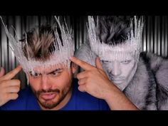 DIY Ice Crown using only hot glue! This Crown how to is inspired by the original genius of Jordan Hanz's Ice Queen look! Ice Makeup, Ice Queen Makeup, Ice Queen Costume, King Costume, Ice Princess Costume, Halloween Cosplay, Halloween Make Up, Jordan Hanz, Diy Maquillage