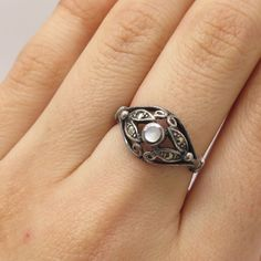 Signed 925 Sterling Silver Real Mother-Of-Pearl Marcasite Openwork Ring Size 7