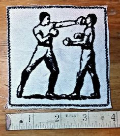 Embroidered Boxing Vintage Graphic Upcycled Canvas Patch by Authenticembroidery on Etsy