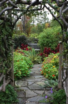 Garden entry with slate/flagstone pathway