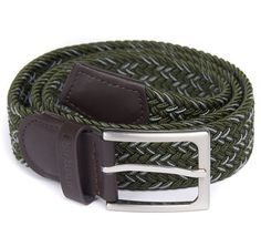 Offered in a two-tone woven design, this handy stretch belt is the perfect detail for any casual outfit. Trimmed in rich leather, the belt is detailed with an embossed Barbour logo to the keeper.