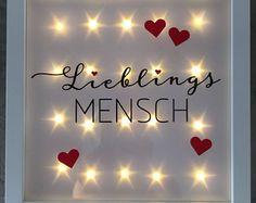 """Geschenk für liebe Menschen/ Freunde, beleuchteter Bilderrahmen """"Lieblingsmensch"""", LED Rahmen, Wanddeko"""