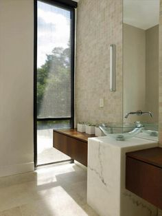 CONTEMPORARY POWDER ROOM. Nice marble detail.
