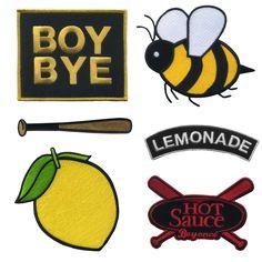 "This Lemonade iron on patch set comes with 6 individual patches.• Baseball Bat / 4"" x .65""• Lemon / 4"" x 3.7""• BOY BYE / 4"" x 3.4""• Lemonade / 4"" x 1.3""• Bee / 4.1"" x 4""• Hot Sauce / 4"" x 3"""