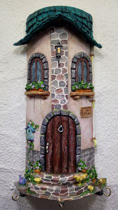 Clay Fairy House, Fairy Garden Houses, Dollhouse Design, Dollhouse Miniatures, Marble Art, Tile Art, Plastic Container Crafts, Clay Crafts, Arts And Crafts