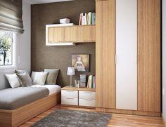 des meubles en bois dans la chambre d'ado