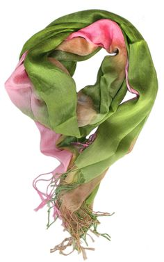 Pink and green watercolor scarf