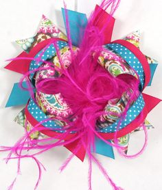 Fuchsia Pink Teal OTT Boutique Hair Bows by BananaPickleDesigns, $12.00