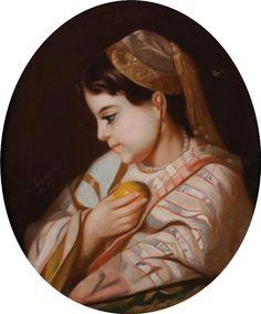 En vente mercredi 4 mai 2016 par Ader à Paris : J. LECARON Jeune fille de profil à l orange Pastel. Signé vers la gauche. 57 x 46 cm. Est. 300 - 400 euros. Orange Pastel, Gauche, Signs, Mai, Mona Lisa, Artwork, Wednesday, Profile, Daughter