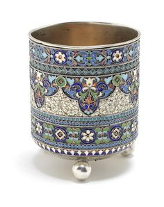 An early 20th century silver and polychrome enamelled beaker by Pavel Ovchinnikov, Moscow 1908-1926